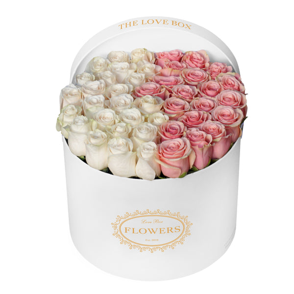 White and Baby Pink Roses in Large Box
