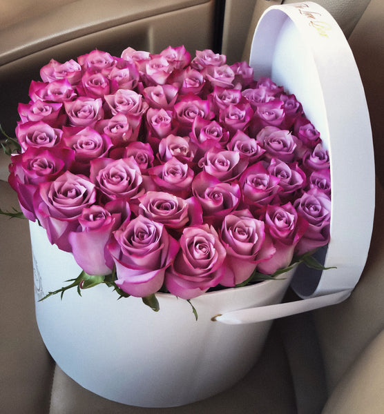 Purple Roses in Large White Box - The Love Box Flowers