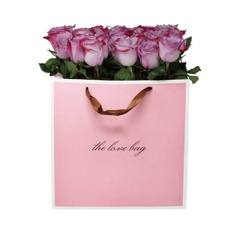 Violet Roses Bouquet in the Love Bag - The Love Box Flowers