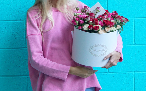 Miniature Rose Arrangement in Large Box - The Love Box Flowers