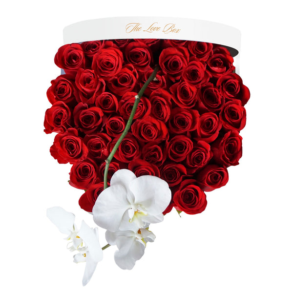 Red Roses with Orchid in Large White Box - The Love Box Flowers