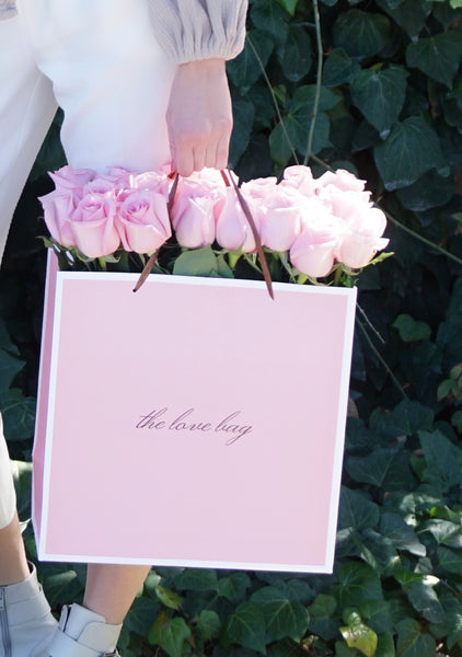 Baby Pink Roses in The Love Bag - The Love Box Flowers