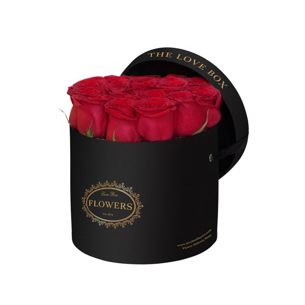 Red Roses in Medium Black Box