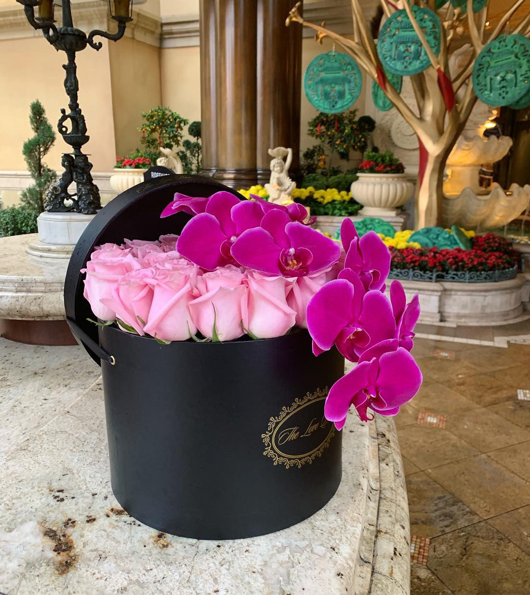 Baby Pink Roses with Orchid Branch in Large Black Box - The Love Box Flowers