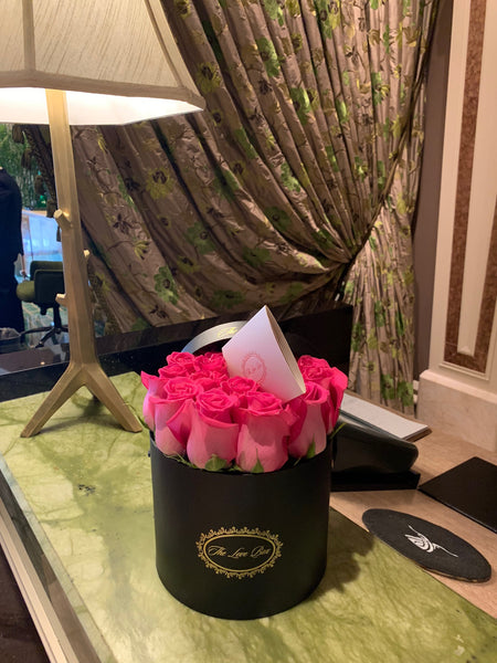 Hot Pink Roses in Medium Black Box - The Love Box Flowers