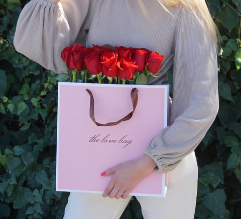 Red Roses Bouquet in The Love Bag - The Love Box Flowers