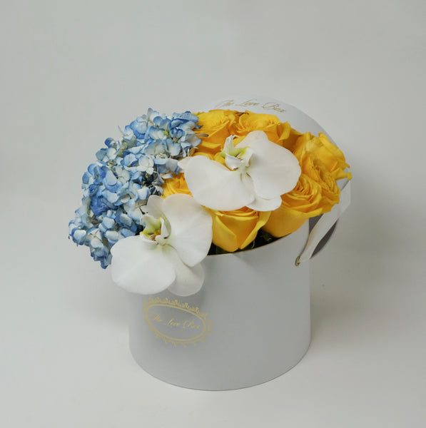 Yellow Roses with Hydrangea and Orchid Flowers in Medium Box - The Love Box Flowers