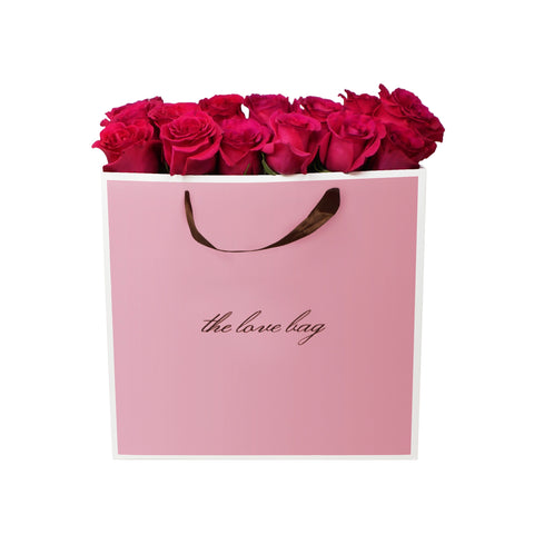Hot Pink Roses in The Love Bag - The Love Box Flowers