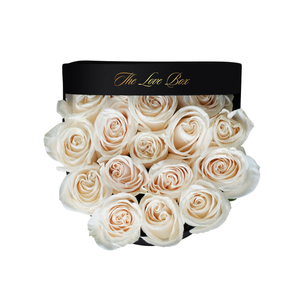 White Roses in Medium Box - The Love Box Flowers