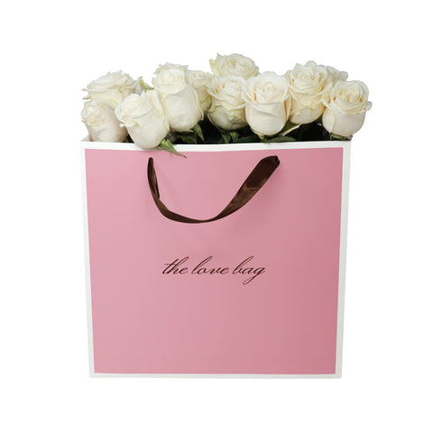 White Roses Bouquet in The Love Bag - The Love Box Flowers