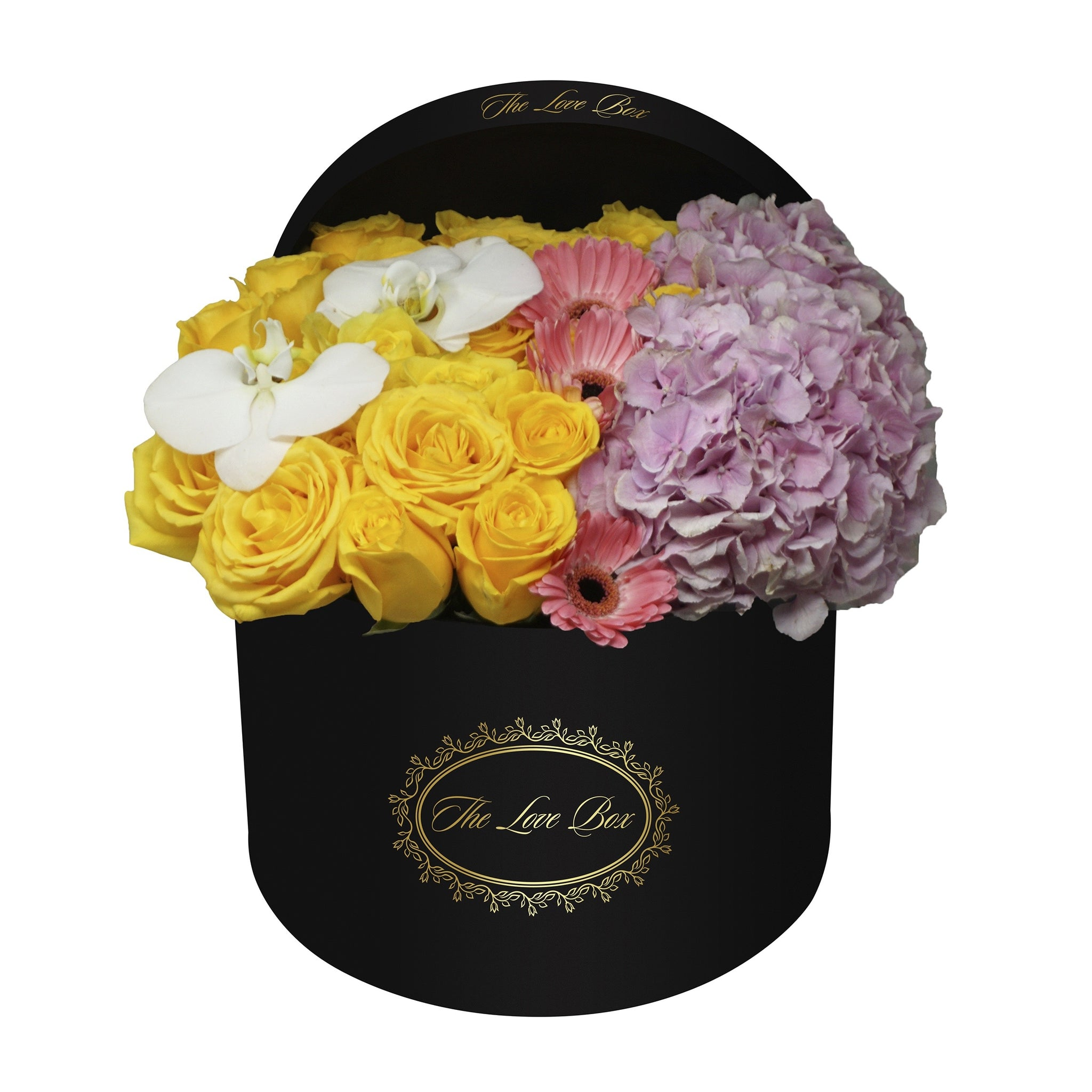Roses, Hydrangeas, and Orchids in Large Black Box - The Love Box Flowers