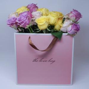 Mixed Roses in The Love Bag - The Love Box Flowers
