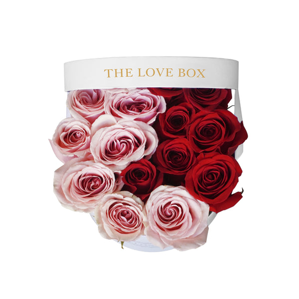 Pink and Red Roses in Medium Box