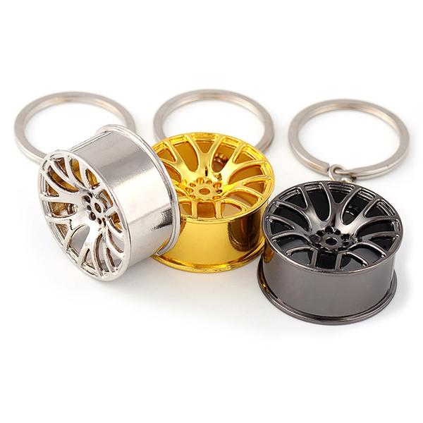 3 colors of Multi Spoke Wheel Keychains