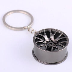 black multi spoke wheel keychain