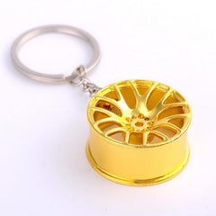 gold multi spoke wheel keychain
