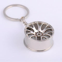 silver multi spoke wheel keychain
