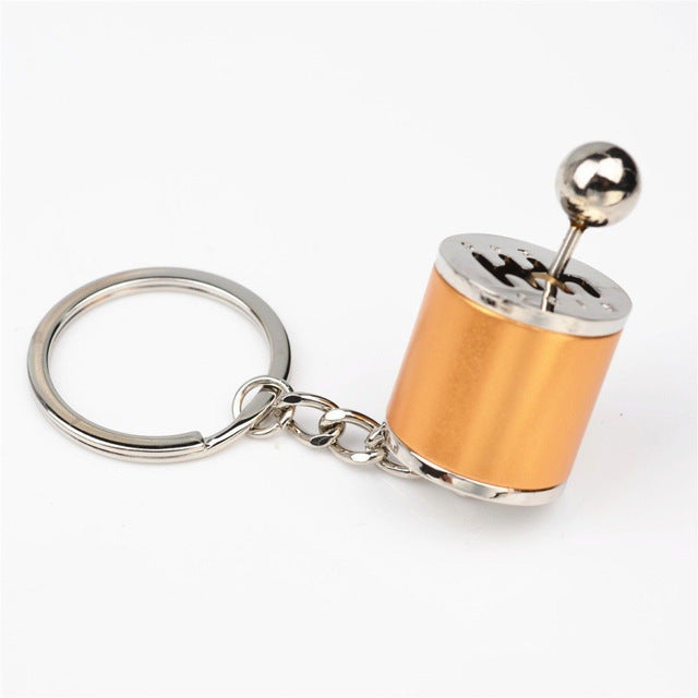 gold gear shift keychain