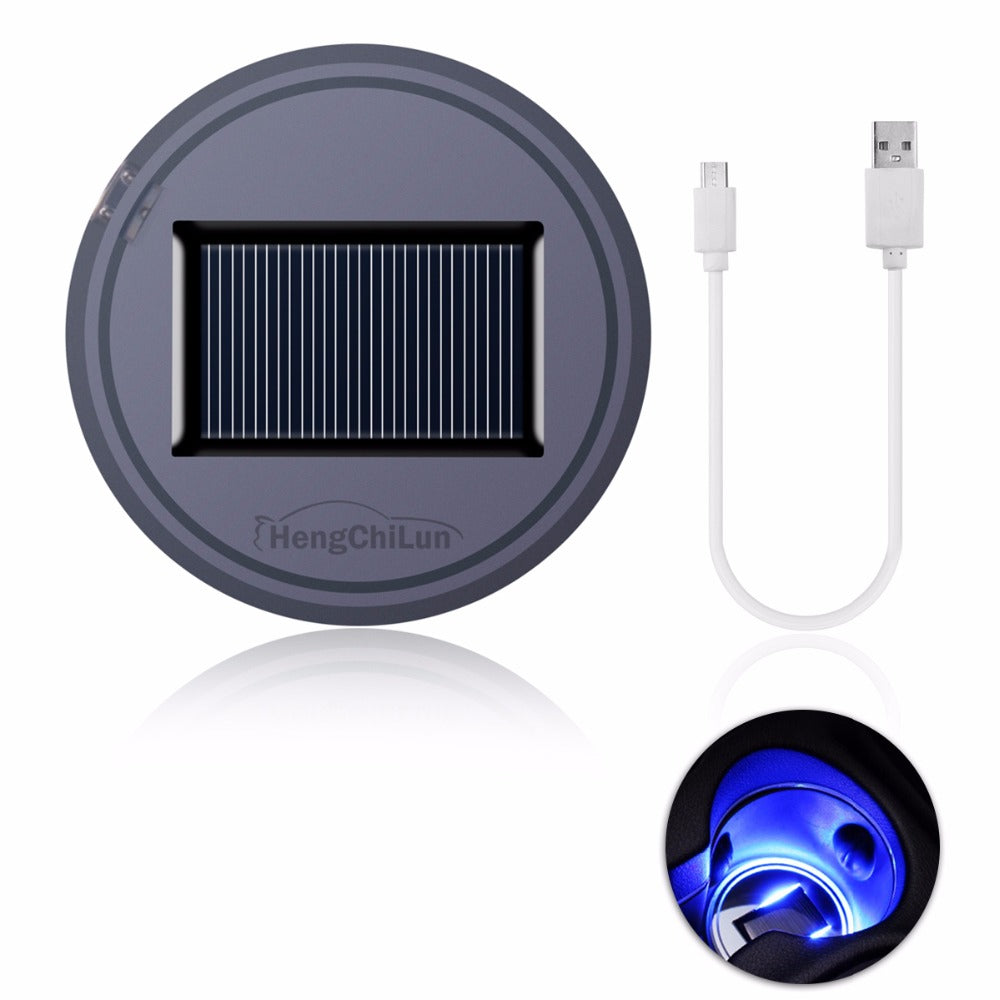 Solar Powered LED Car Cup Holder Lights (2-Pack)
