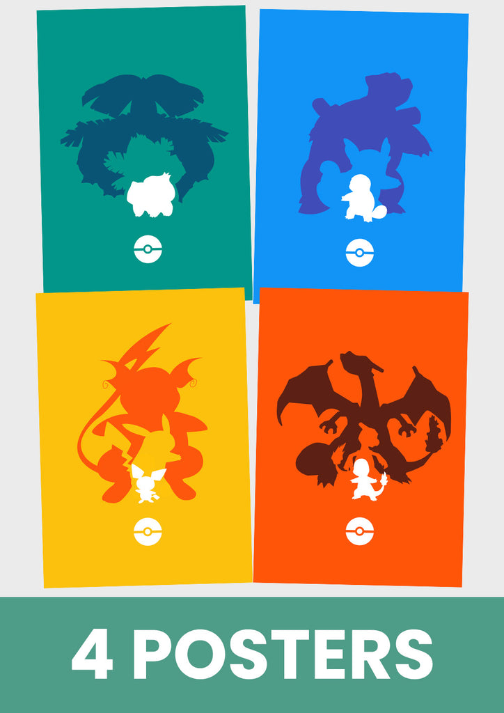 Poster, Pokemon, Pikachu, Charmander, Bulbasaur, Squirtle.