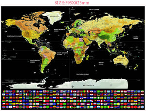 Deluxe Travel Edition Scratch Map 59.5X82.5 Cm - Desk Mess