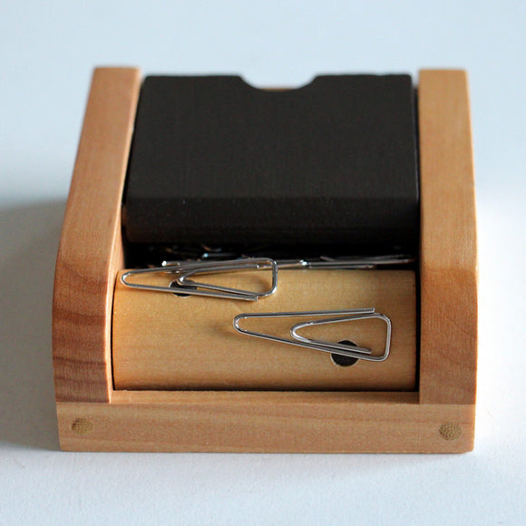 Wood Paper Clip Dispenser - Desk Mess