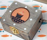 Wooden Music Box Hand Crank - Desk Mess