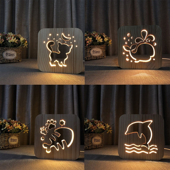 Wooden Animal Lamp - Desk Mess
