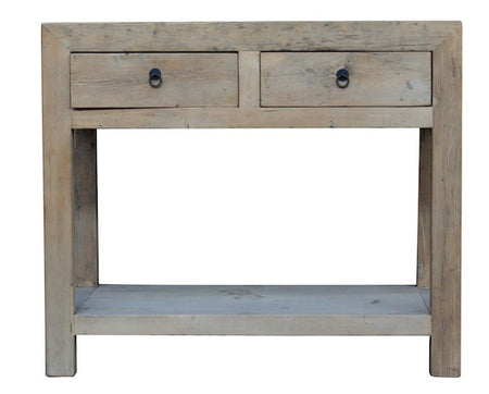 2 Drawer Console with Shelf L90cm W45cm H90cm