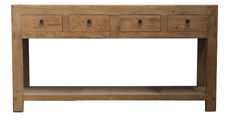 Recycled Elm 4 Drawer Console