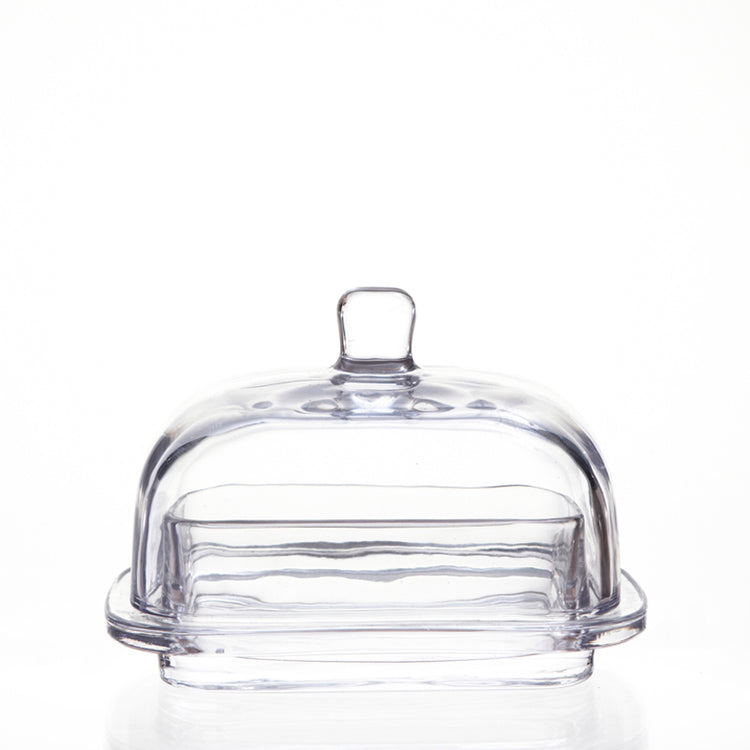 Large Glass Butter Dish with Lid