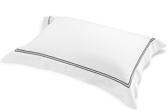 Tailored Pillowcase White Fabric Ebony Embroidery