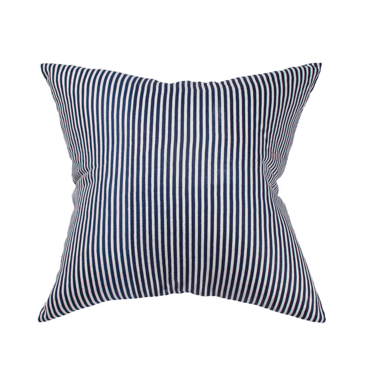 Dark Navy Stripe Linen Cushion 55x55cm