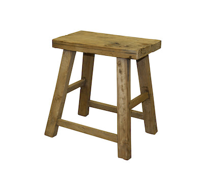 Recycled Elm Rectangular Stool L47cm W24cm H49cm