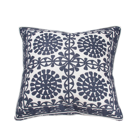 Embroidery Circle Linen Gusset Cushion 55x55cm