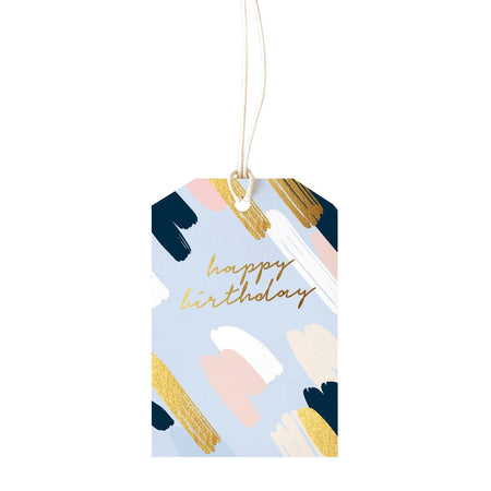 Gift Tag Painty Blue Birthday