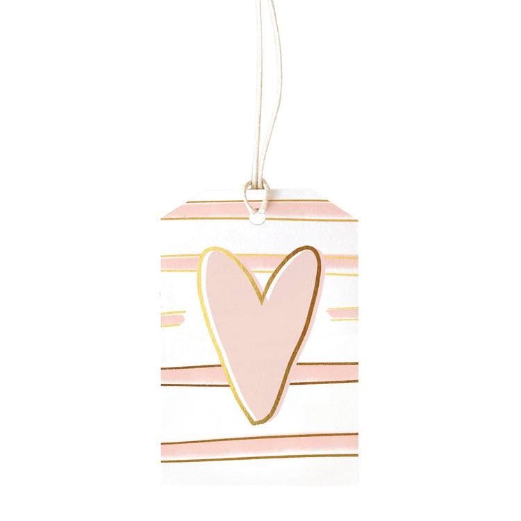 Gift Tag Stripe Blush Heart