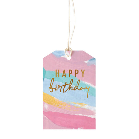 Gift Tag Birthday Brushy Colour
