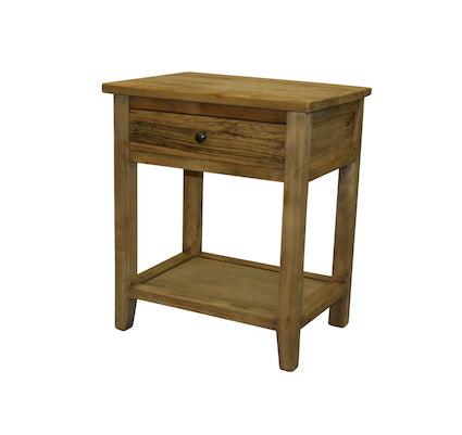 Recycled Elm Bedside Table with Drawer & Shelf Rustic W55cm  D40cm  H65cm