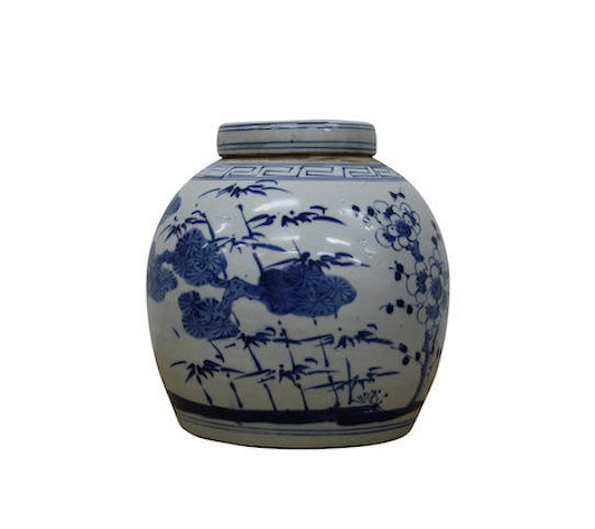 Glazed Ceramic Blue/White Ginger Jar H25cm Bamboo