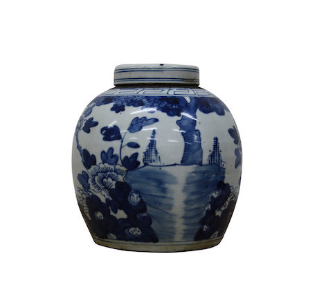 Glazed Ceramic Blue/White Ginger Jar H25cm Cherry Blossom