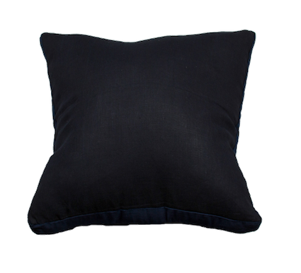 Essential French Navy Linen Velvet Gusset Cushion 60x60cm
