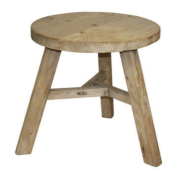 Large Round Side Table Recycled Elm D50cm H50cm