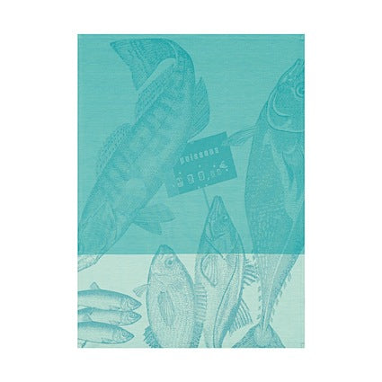 Tea Towel Marche Poissons Ice 60x80cm 100% Cotton