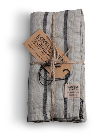 Lovely Linen Misty Stripe Black Napkins Set 4