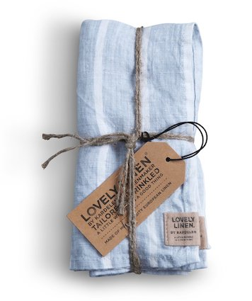 Lovely Linen Napkins Stripe Sky 42x42cm Set 4