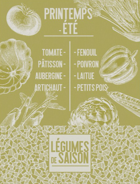 Tea Towel De Saison Fruits Mustard 60x80cm