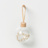 Holiday Hanging Glass Bauble Natural Set 4 D10cm