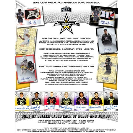 2019 Leaf Metal All-American Football JUMBO Box