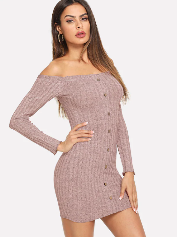 b2069a798b8 ... Hot Sale Pink Off The Shoulder Single Breasted Dress Sexy Pullover  Sweater Dress ...
